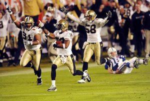 Image of Tracy Porter, New Orleans Saints, Super Bowl XLIV